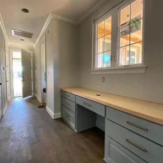 A fabulous and functional built-in desk to keep you organized! Every inch of your custom home can be tailored to your needs and style. #buildingahouse #shreveporthomes #shreveportrealestate #shreveportconstruction #builtindesk