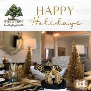 Only 5 days until Christmas! Happy Holidays from The Grove at Garrett Farm team! Thank you to Yarbrough Interiors for this festive and chic holiday decor staging in our model home!