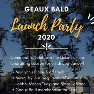 Join LSU 🐯 Medical Students in Provenance's Greenleaf Park on ⭐Thursday, November 19th 2020 6-9 PM⭐ for the annual Shreveport Bossier Geaux Bald Launch Party! This event kicks off their fundraising season that builds up to the main event that will be held March 12 2021. 🍤Marilynn's Place Food Truck, 🎶Live Music, and Geaux Bald swag will be for sale. All proceeds will benefit Geaux Bald's cause!  💚Kids with cancer are our reason for it all. They're the inspiration behind our event and the reason we're helping fund childhood cancer research. We believe all kids should be able to grow up and turn their dreams into realities. 👆🏼Tap the link in bio to learn more!